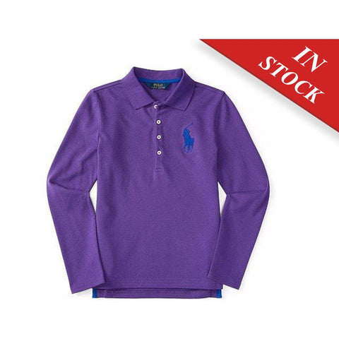 Ralph Lauren Girls Big Pony Stretch Mesh Polo, Cirrus Purple