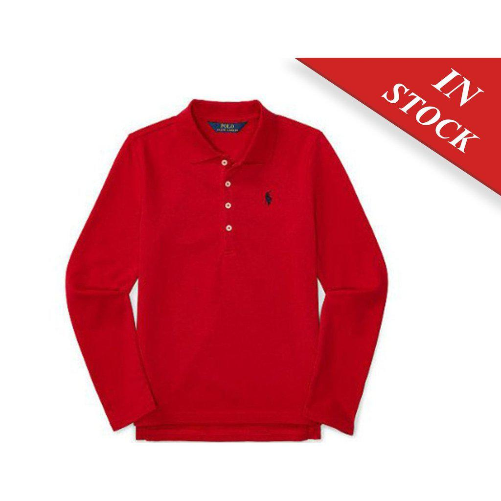 Ralph Lauren Girls Stretch Mesh Long Sleeve, Ralph Red