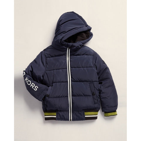 Contrast Hooded Puffer Jacket