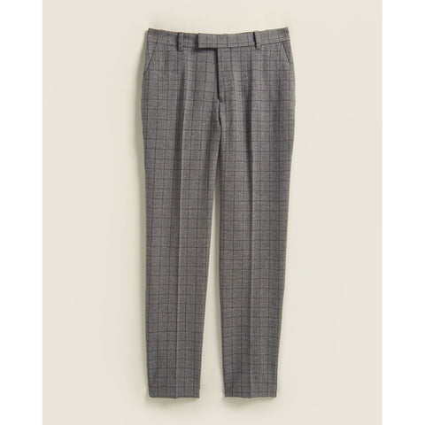 Deep Black Windowpane Slim Fit Pants