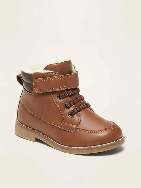 Faux-Leather Sherpa-Lined Boots for Toddler Boys