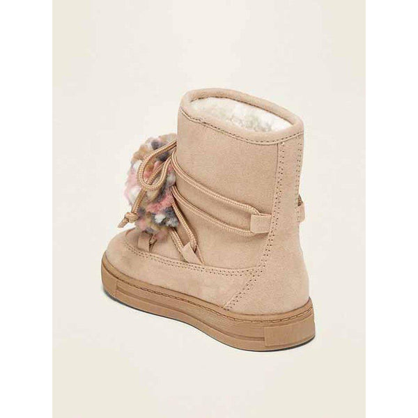 Faux-Suede Pom-Pom Boots for Toddler Girls