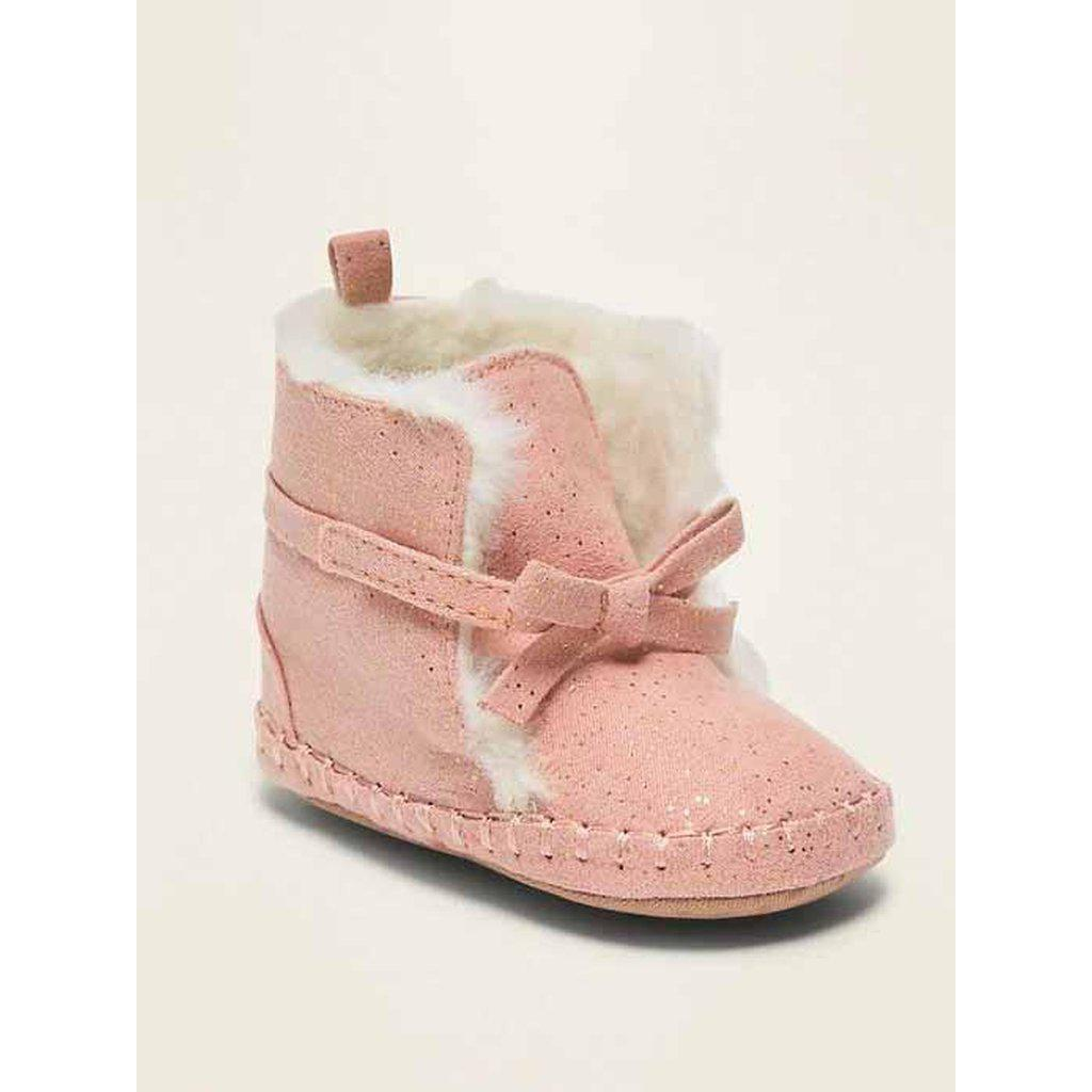 Faux-Suede Shimmer Faux-Fur Lined Booties for Baby