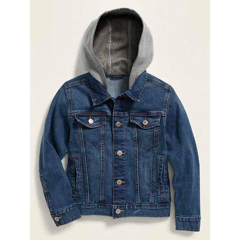 Fleece-Hood Built-In Flex Jean Jacket For Boys