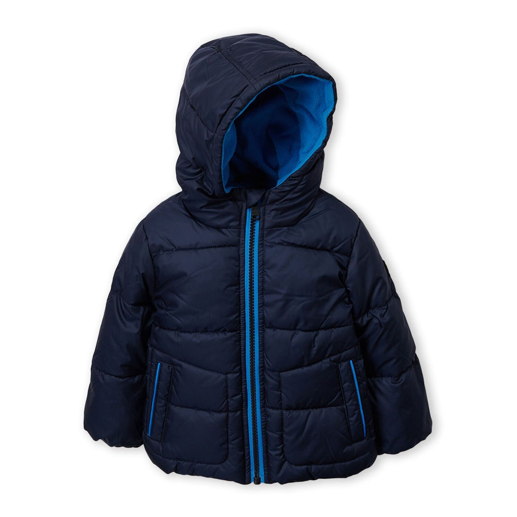 Hooded Color Pop Basic Puffer Jacket