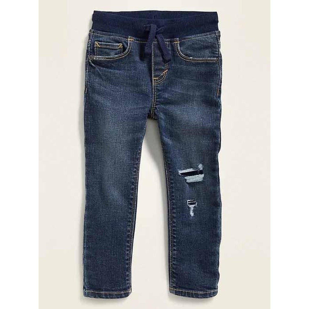 Karate Rib-Knit Waist Distressed Jeans for Toddler Boys