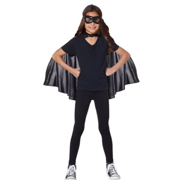 Kids Black Cape and Mask