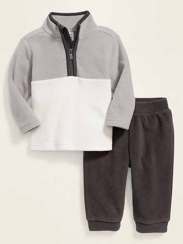 Micro Performance Fleece 1/4-Zip Top & Pants Set for Baby