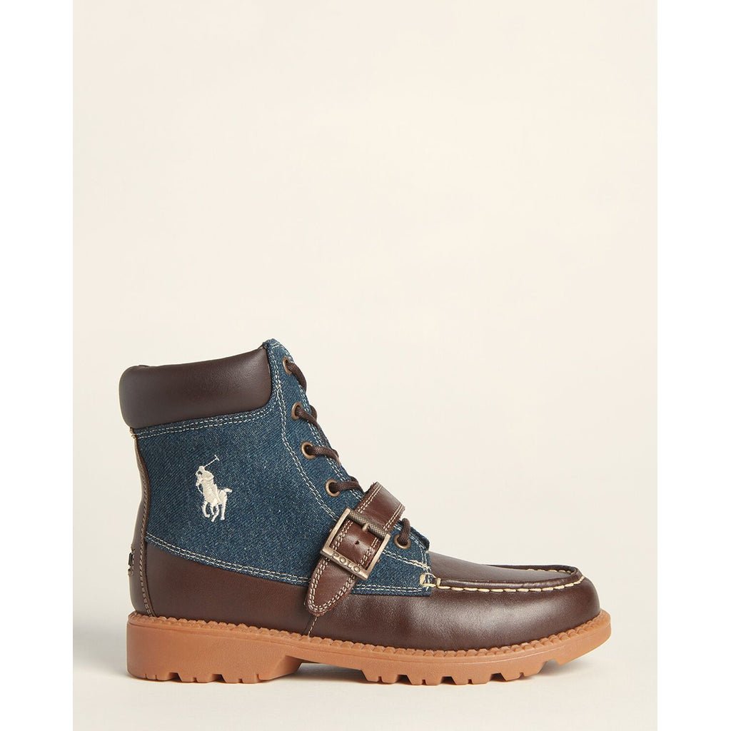 Navy & Chocolate Randen Leather Boots