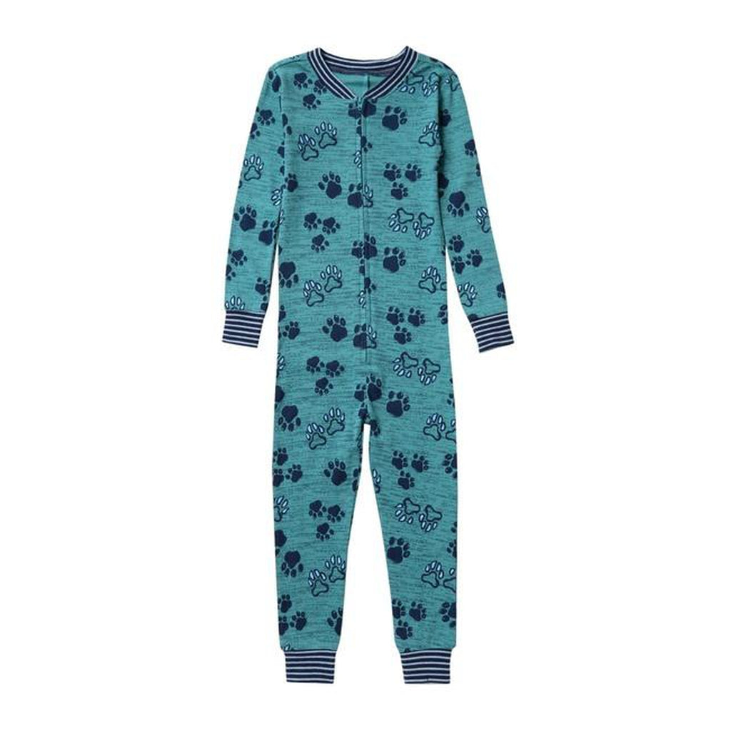 Paw Print One Piece Cotton Pajama