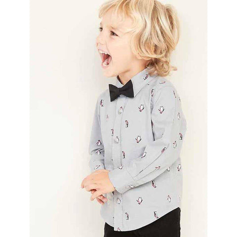 Penguin-Print Shirt and Bow-Tie Set for Toddler Boys