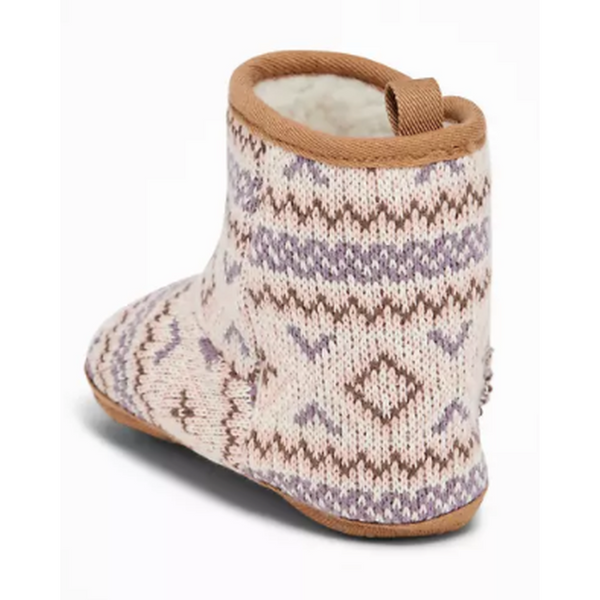 Fair Isle Sweater-Knit Booties for Baby