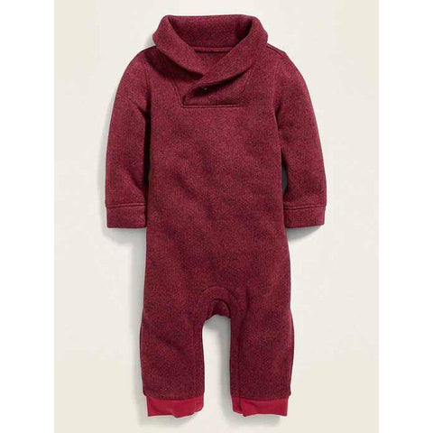 Sweater-Fleece Shawl-Collar One-Piece for Baby