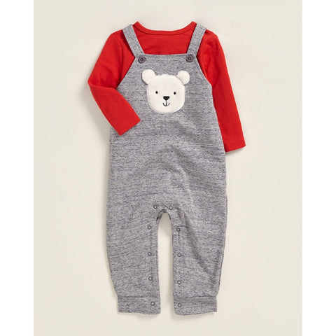 Two-Piece Bear Overalls Set