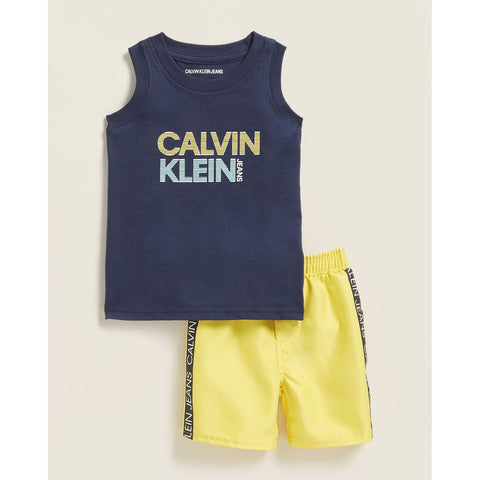Two-Piece Logo Tank & Logo Tape Swim Trunks Set