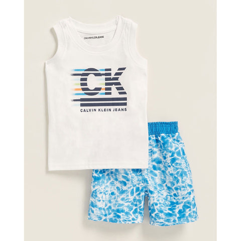 Two-Piece Logo Tank & Printed Swim Trunks Set