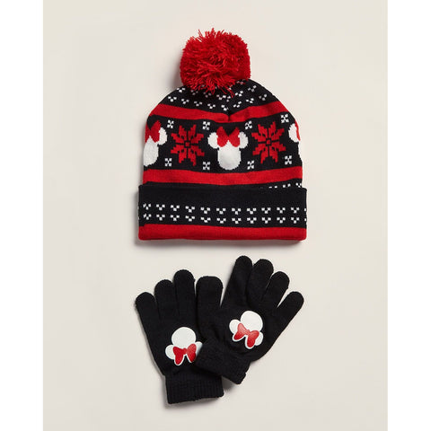 Two-Piece Minnie Mouse Fair Isle Hat & Gloves Set
