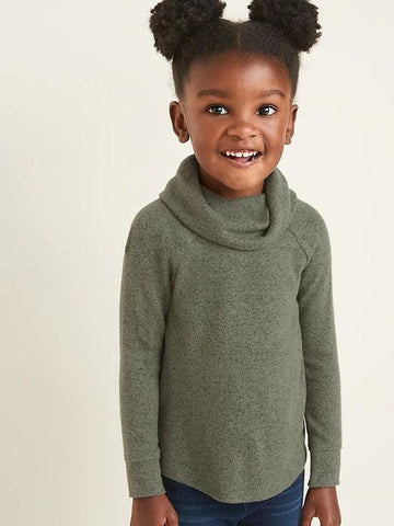 Plush-Knit Cowl-Neck Top for Toddler Girls