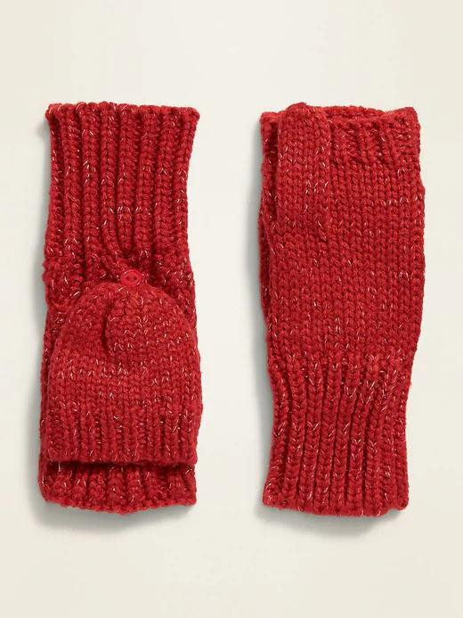 Cable-Knit Flip-Top Mittens For Girls