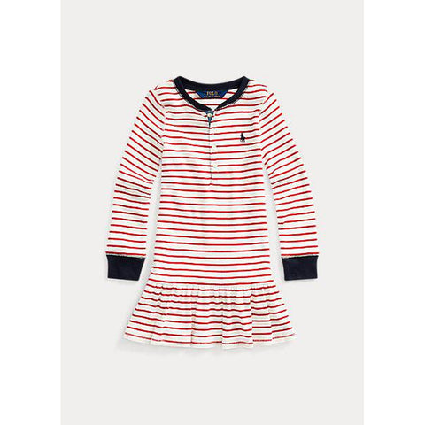 Striped Cotton Henley Dress