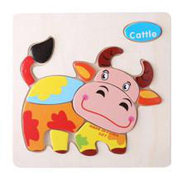 One Set Kids Jigsaw Puzzle Cartoon Animals Dimensional Puzzle Force Children Wooden Jigsaw Puzzle Kids Education Learning Toys - BABYJOX
