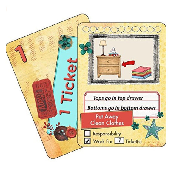 NEATLINGS Chore Card Self-Care Deck ● 28 Self-Care Chores & 21 Ticket Cards ● Reward & Responsibility ● Yellow - BABYJOX