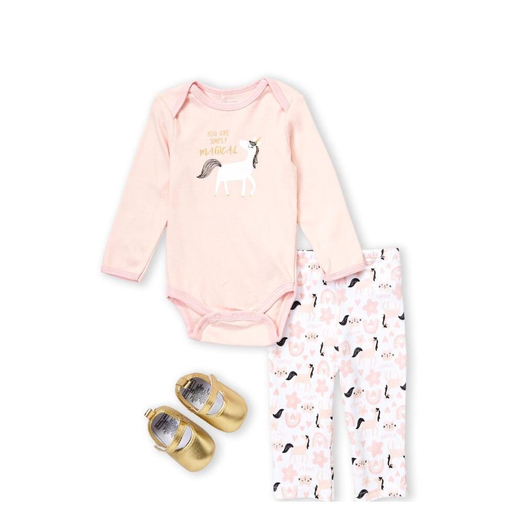 (Newborn Girls) 3-Piece Unicorn Bodysuit & Pants Set