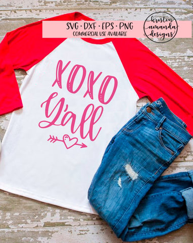 XOXO Y'all Valentine SVG DXF EPS PNG Cut File • Cricut • Silhouette - SVG File Cricut Kristin Amanda Designs