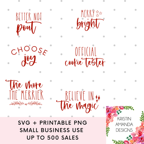 Christmas SVG Bundle SVG Cut File and Printable PNG • Cricut • Silhouette