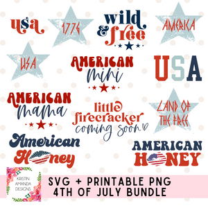 4th of July Design Bundle Fourth of July SVG DXF EPS PNG Cut File • Cricut • Silhouette