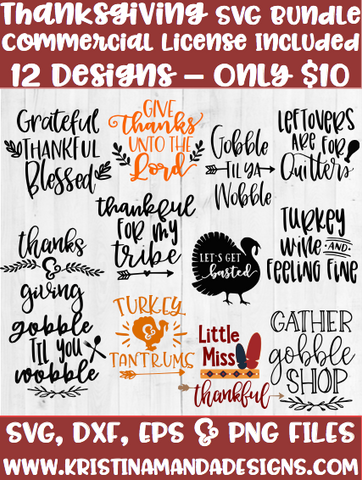 Thanksgiving/Fall SVG Bundle SVG DXF EPS PNG Cut File • Cricut • Silhouette - SVG File Cricut Kristin Amanda Designs