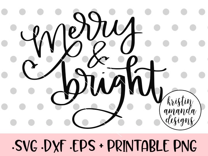Merry and Bright Christmas Tree SVG DXF EPS PNG Cut File • Cricut • Silhouette - SVG File Cricut Kristin Amanda Designs