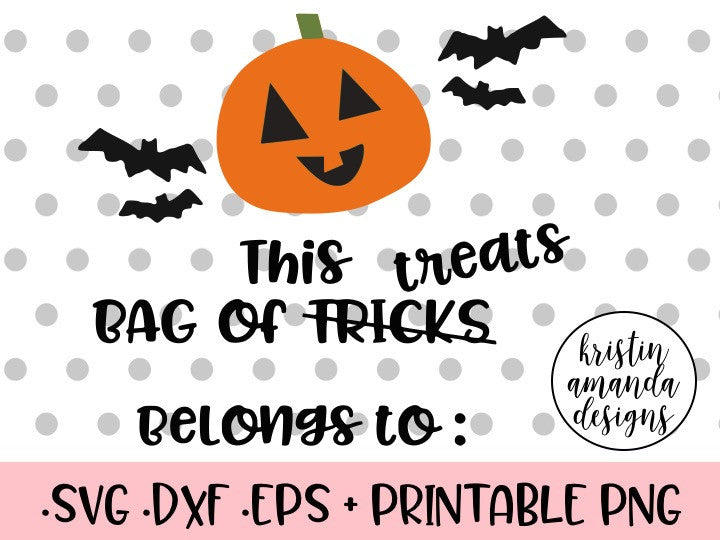 Bag Of Treats Halloween Trick Or Treat Bag Svg Dxf Eps Png