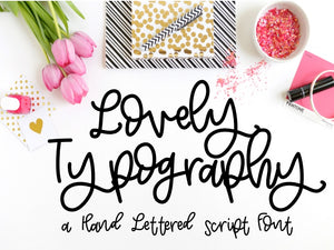 Lovely Typography Hand Lettered Modern Calligraphy Font - SVG File Cricut Kristin Amanda Designs