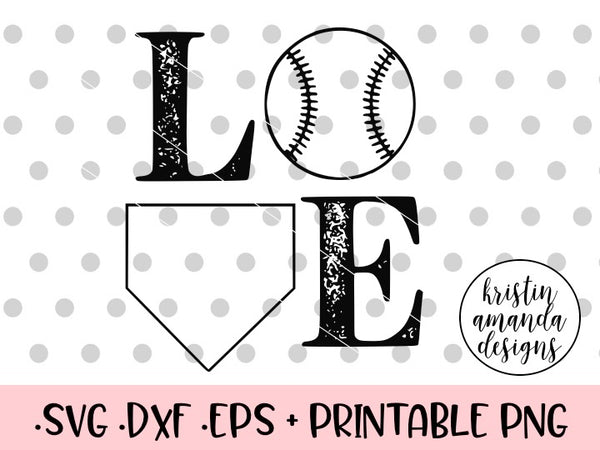 Love Baseball Distressed SVG DXF EPS PNG Cut File • Cricut • Silhouette - SVG File Cricut Kristin Amanda Designs