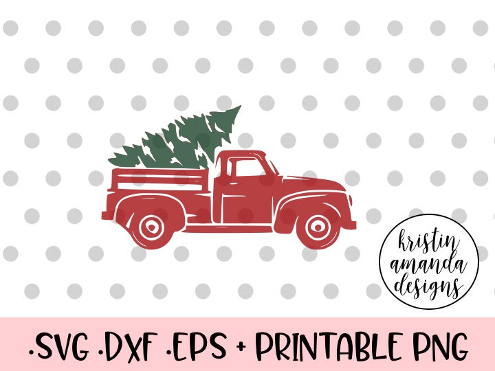 Christmas Tree Truck Svg Free.Vintage Christmas Truck Svg Dxf Eps Png Cut File Cricut Silhouette