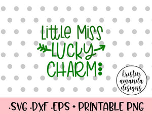 Little Miss Lucky Charm St. Patrick's Day SVG DXF EPS Cut File • Cricut • Silhouette - SVG File Cricut Kristin Amanda Designs