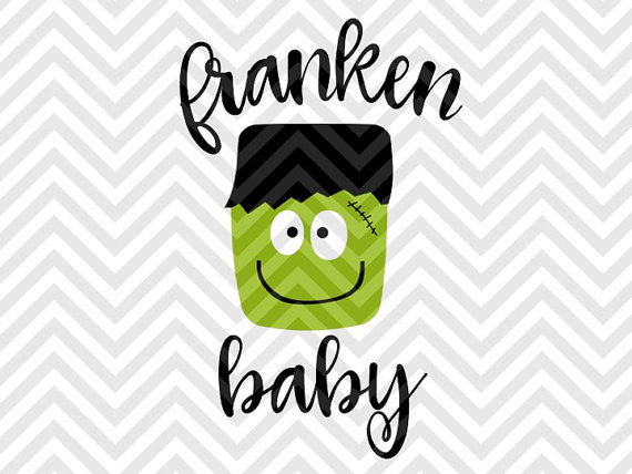 Franken Baby Frankenstein Halloween SVG and DXF Cut File • PNG • Vector • Calligraphy • Download File • Cricut • Silhouette - Kristin Amanda Designs