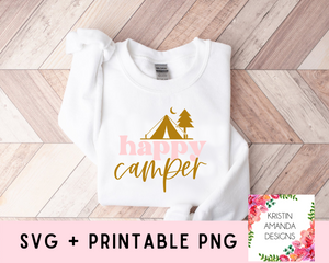Happy Camper Spring Easter SVG DXF EPS PNG Cut File • Cricut • Silhouette