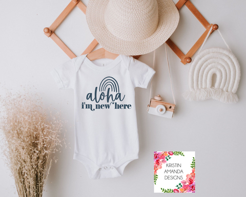 Aloha I'm New Here Baby Hawaiian SVG Cut File and Printable Sublimation PNG