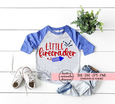 Little Firecracker 4th of July SVG DXF EPS PNG Cut File • Cricut • Silhouette - SVG File Cricut Kristin Amanda Designs