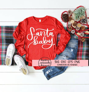 Santa Baby Hand Lettered Christmas SVG DXF EPS PNG Cut File • Cricut • Silhouette