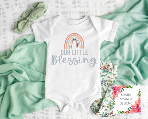 Little Blessing Rainbow Baby Newborn Pregnancy Announcement SVG Cut File and Printable Sublimation PNG