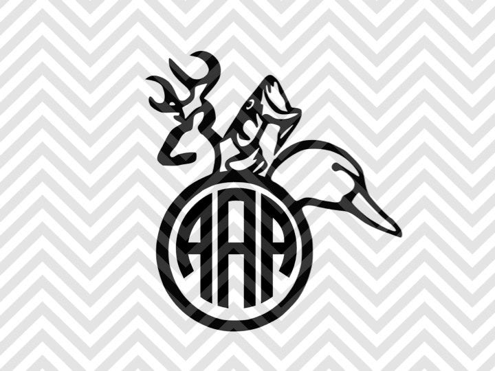 Hunting Monogram (Letters Not Included) SVG Cut File and PDF • Deer • Fishing •  Hunting • Vector • Download File - SVG File Cricut Kristin Amanda Designs