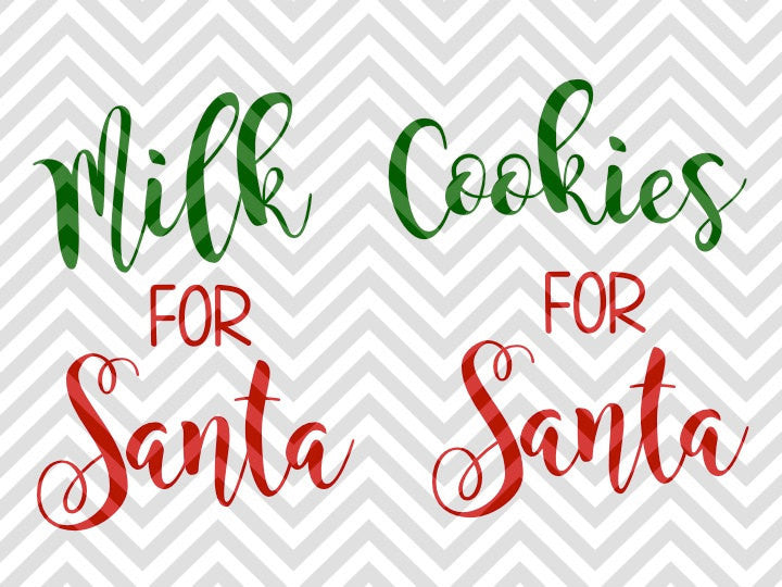 Milk for Santa Cookies Christmas SVG and DXF Cut File • PNG • Vector • Calligraphy • Download File • Cricut • Silhouette - Kristin Amanda Designs