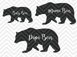 Papa Bear, Mama Bear, Baby Bear  SVG Cut File and PDF • Vector • Handwritten • Calligraphy • Download File - SVG File Cricut Kristin Amanda Designs