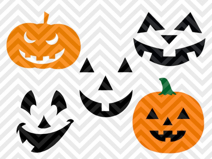 Pumpkins Jack o Lantern Halloween SVG and DXF Cut File • PNG • Vector • Clipart • Download File • Cricut • Silhouette - SVG File Cricut Kristin Amanda Designs