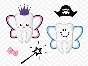 Tooth Fairy Bag Kit Boy Girl Cute SVG and DXF Cut File • PNG • Vector • Calligraphy • Download File • Cricut • Silhouette - SVG File Cricut Kristin Amanda Designs