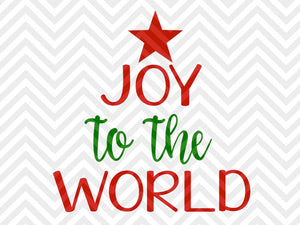 Joy to the World Christmas Tree SVG and DXF Cut File • Png • Download File • Cricut • Silhouette - SVG File Cricut Kristin Amanda Designs