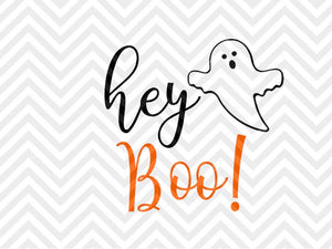 Hey Boo Halloween Cute SVG and DXF Cut File • Png • Download File • Cricut • Silhouette - SVG File Cricut Kristin Amanda Designs